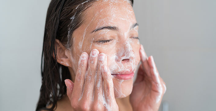 woman face srcub, exfoliate, clean