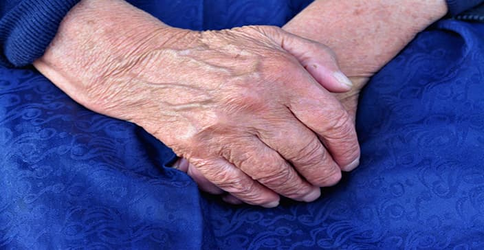 hand care, old hands image, visible veins, crepey skin